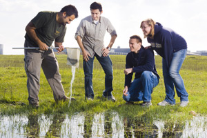 UC Merced students working out in the field.